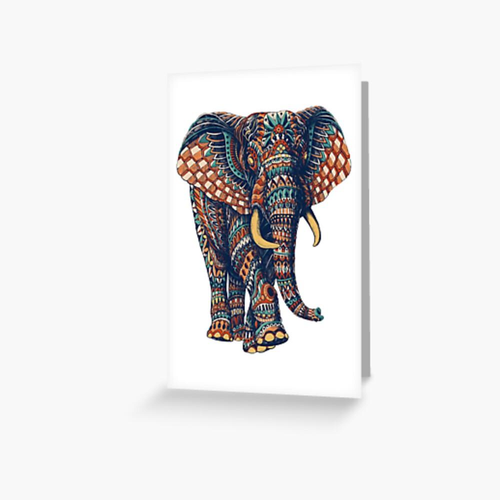 Ornate Elephant v2 (Color Version) Greeting Card