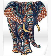 Verzierter Elefant v2 (Farbversion) Poster