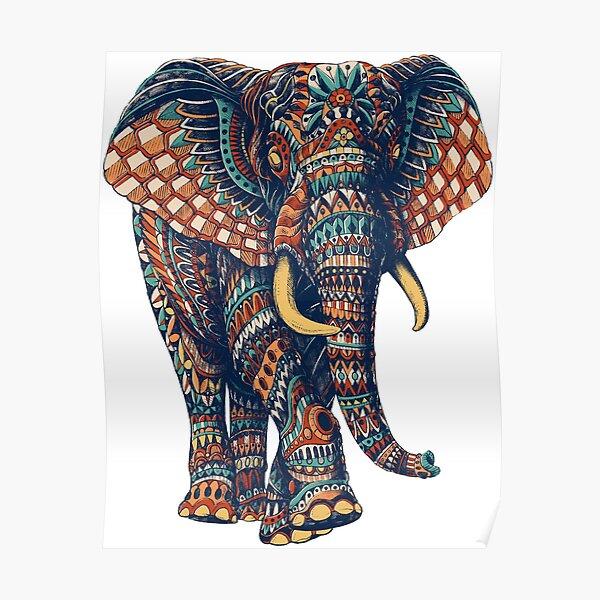 Ornate Elephant v2 (Color Version) Poster