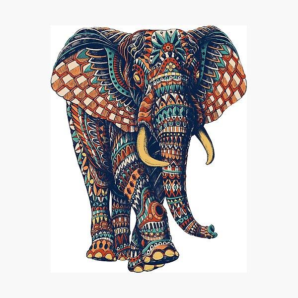 Ornate Elephant v2 (Color Version) Photographic Print