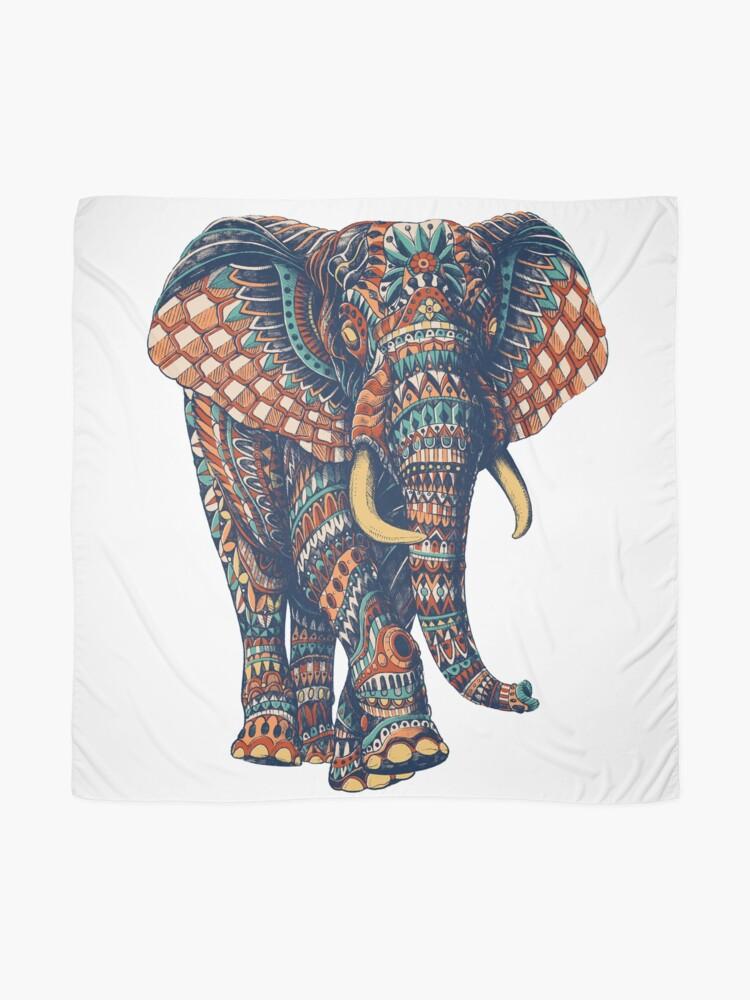 Alternate view of Ornate Elephant v2 (Color Version) Scarf