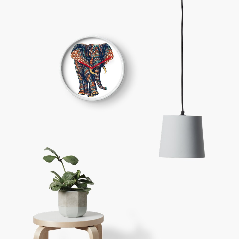 Ornate Elephant v2 (Color Version) Clock