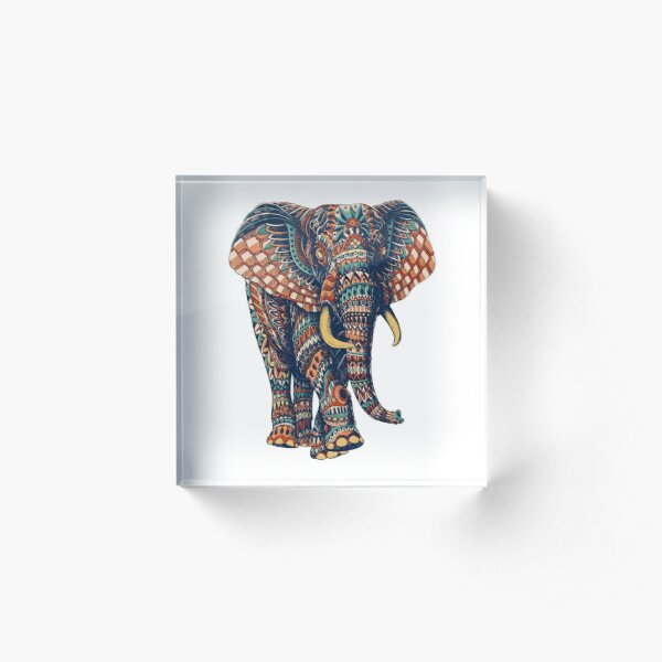 Ornate Elephant v2 (Color Version) Acrylic Block