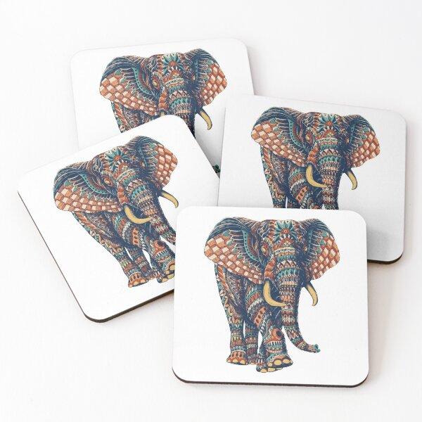 Ornate Elephant v2 (Color Version) Coasters (Set of 4)