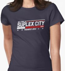 SUPLEX CITY, USA - White Womens Fitted T-Shirt