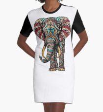 Verzierter Elefant (Farbversion) T-Shirt Kleid