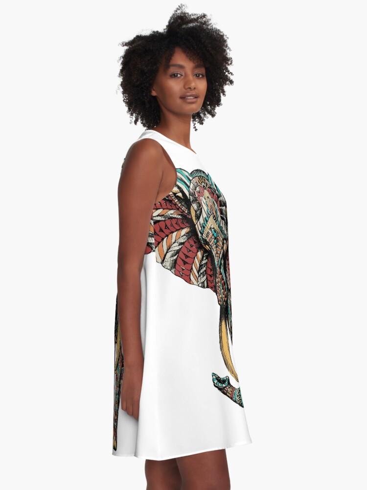 Alternate view of Ornate Elephant (Color Version) A-Line Dress