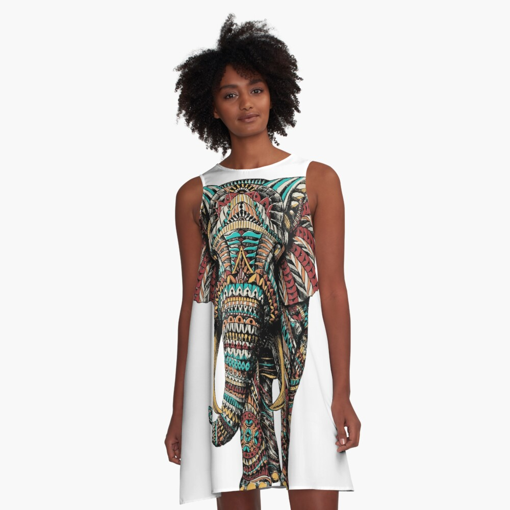 Ornate Elephant (Color Version) A-Line Dress