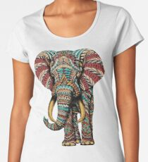 Ornate Elephant (Color Version) Women's Premium T-Shirt