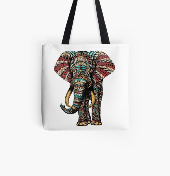 Ornate Elephant (Color Version) All Over Print Tote Bag