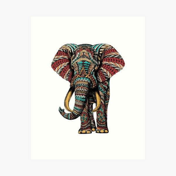 Ornate Elephant (Color Version) Art Print