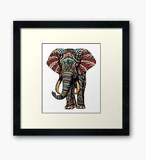 Ornate Elephant (Color Version) Framed Print