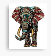 Ornate Elephant (Color Version) Canvas Print