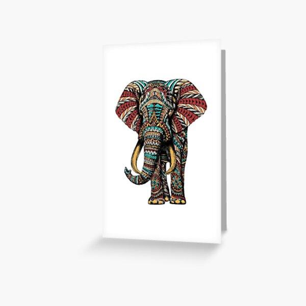 Éléphant orné (version couleur) Carte de vœux