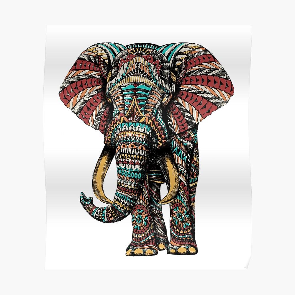 Verzierter Elefant (Farbversion) Poster