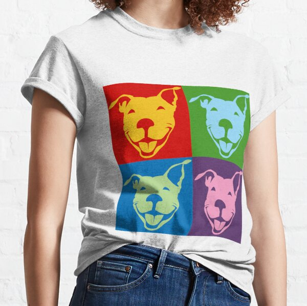 Multi-Color Smiling Pitbull Terrier | NickerStickers® on Redbubble Classic T-Shirt