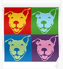 Multi-Color Smiling Pitbull Terrier | NickerStickers on Redbubble Poster