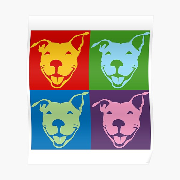 Multi-Color Smiling Pitbull Terrier | NickerStickers® on Redbubble Poster
