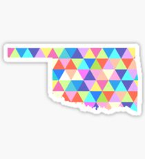 Oklahoma State Colorful Geometric Triangles Hipster Sticker