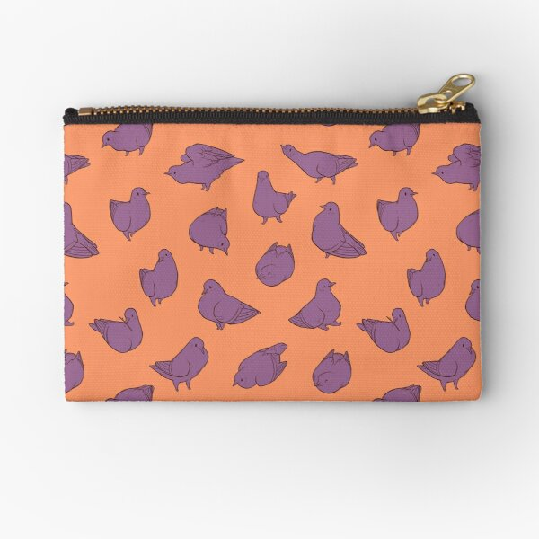 Pigeon Poofs in Orange and Purple Zipper Pouch