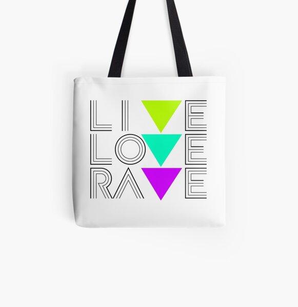 Live Love Rave Allover-Print Tote Bag
