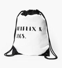 Netflix & dogs Drawstring Bag