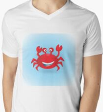 Cute hand drawn red crab. Tropical sea life design. Men's V-Neck T-Shirt