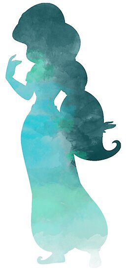 Blue princess watercolor silhouette by Becca Cook