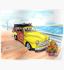 1948 Ford Woody - Springtime on the pier  Poster