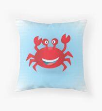 Cute hand drawn red crab. Tropical sea life design. Throw Pillow