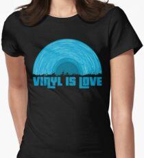 Blue Vinyl is love (black) Women's Fitted T-Shirt