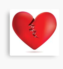 Broken red heart Canvas Print