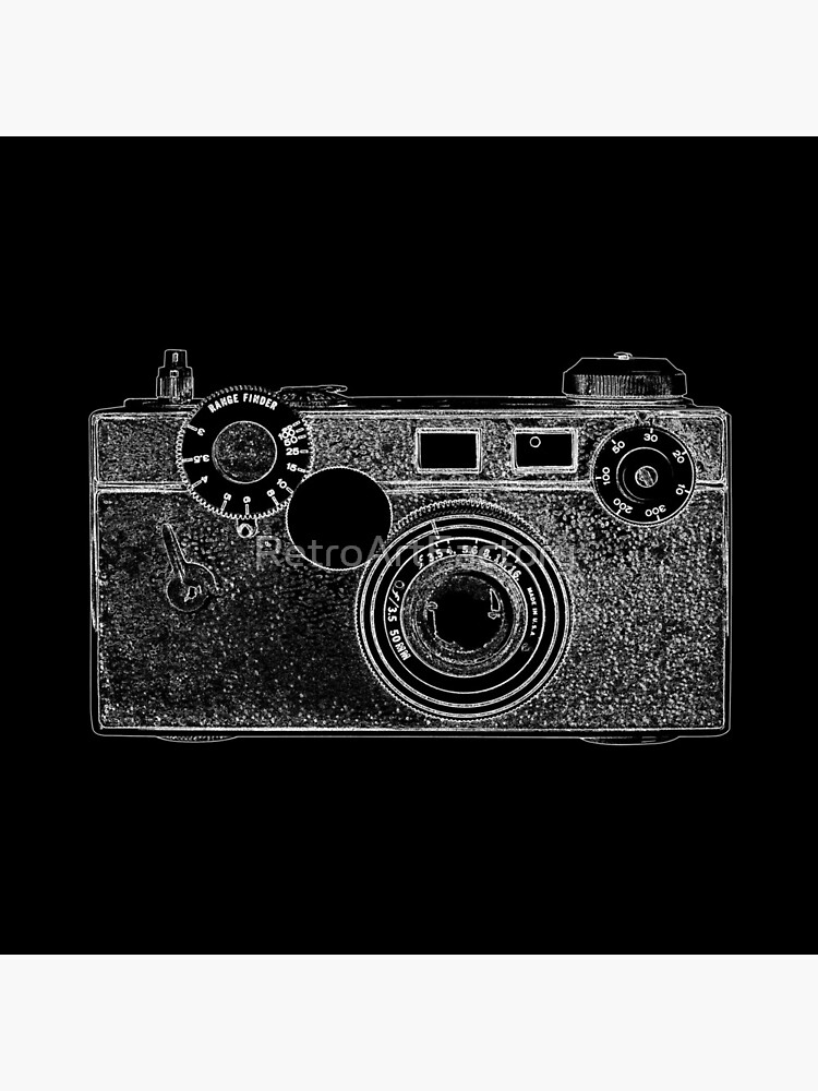 Argus Vintage Camera with White Outline by RetroArtFactory