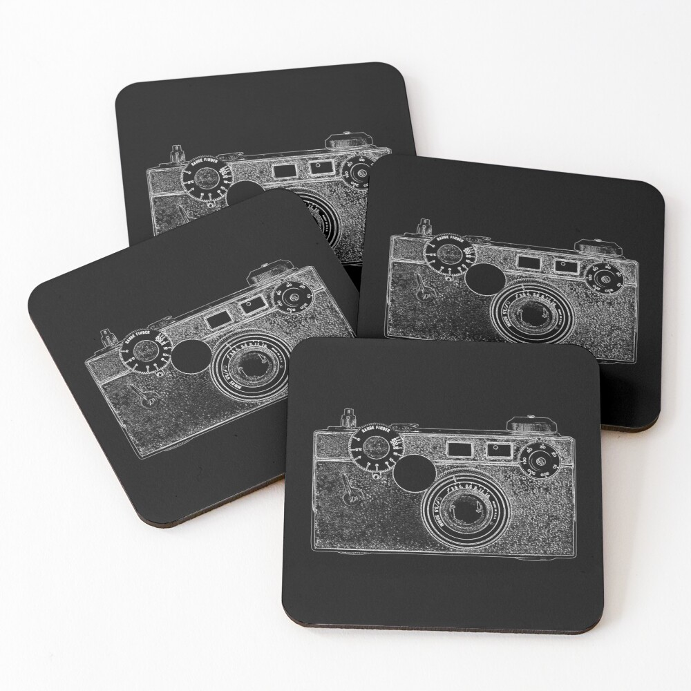 Argus Vintage Camera with White Outline Coasters (Set of 4)