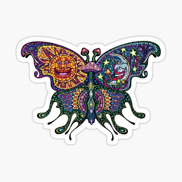 Psychedelic Mushroom Sun/Moon Butterfly Sticker