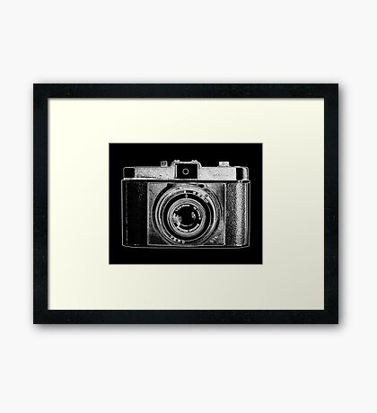iLoca Vintage Camera with White Outline Framed Print