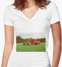 Colorful Agriculture Women's Fitted V-Neck T-Shirt
