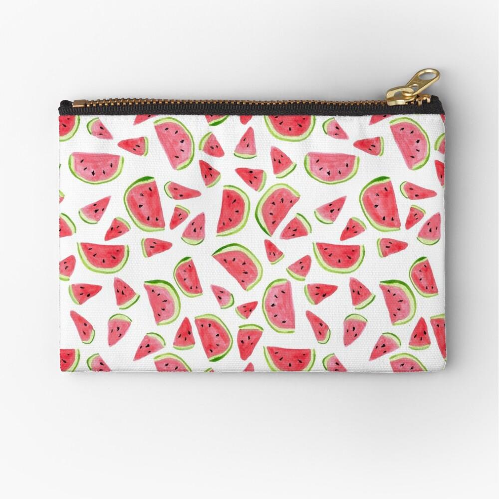 Watermelon wonders! Fun summertime watermelon watercolor print Zipper Pouch