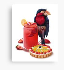 Strawberry lemonade, a fruit tart, and a bearded barbet Canvas Print