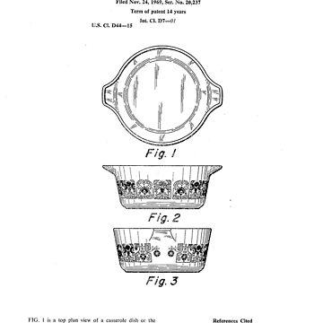 Corning/Pyrex Horizon Blue Vintage Casserole Dish Patent Diagram Drawing by Framerkat