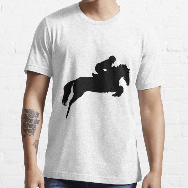 Horse Jumper Design in Black Essential T-Shirt