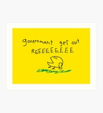 Government get out REEEEEEE - Libertarian No Step on Snek Snekright Don't Tread on Me style with Kekistan Frog Memes yellow HD HIGH QUALITY ONLINE STORE Art Print