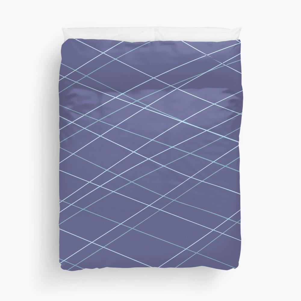 Aqua Balls - Lines in Prussian Blue Duvet Cover