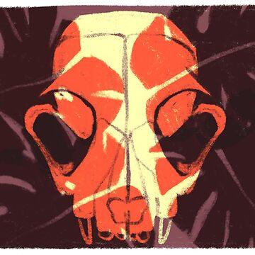 skull & leaves by reedbuck