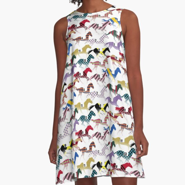 Off to the Horse Races Jockey Silks Pattern A-Line Dress
