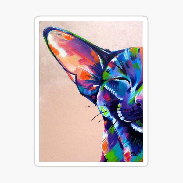 Sunbathing - Oriental cat artwork Sticker