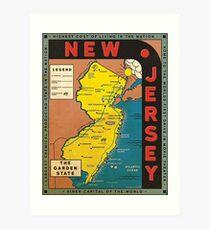 Retro New Jersey Map Art Print