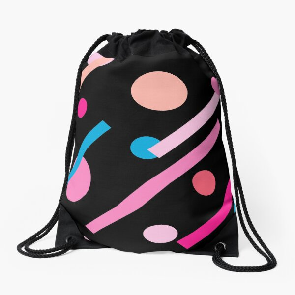 Linear Pink - Dots and Dashes Drawstring Bag