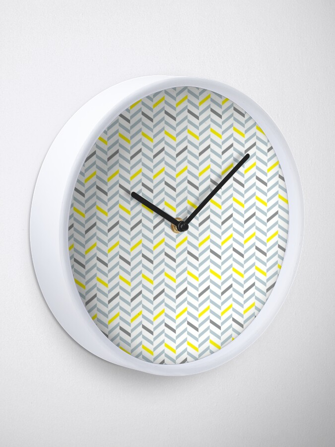 Alternate view of Geometric pattern - simple, black, grey, yellow Clock
