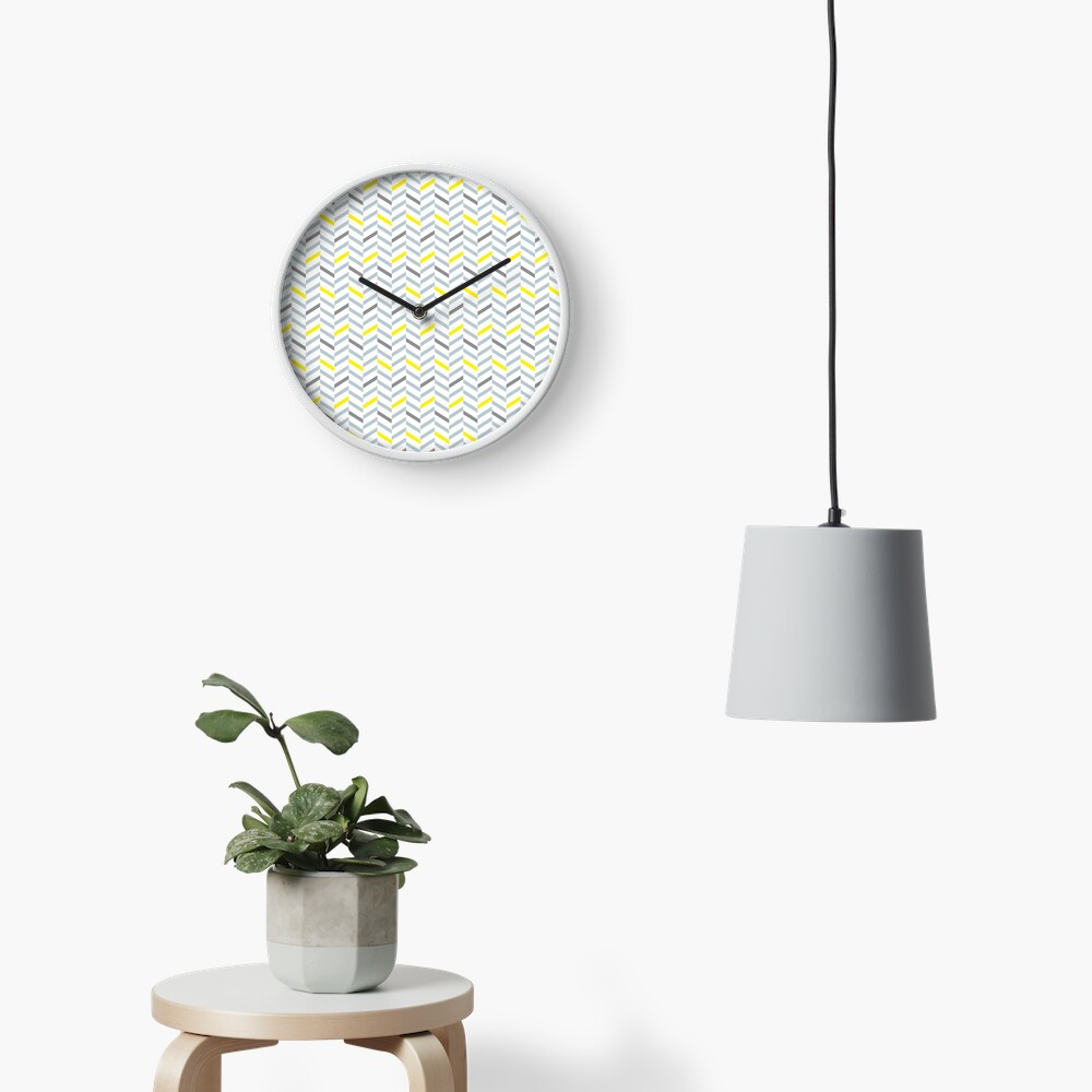 Geometric pattern - simple, black, grey, yellow Clock